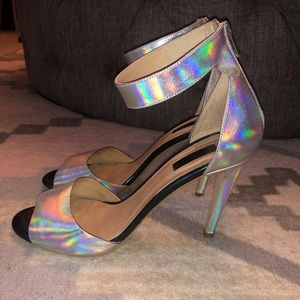 Topshop Holographic Silver Heels